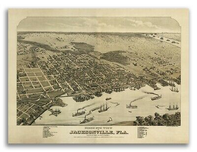 1876 Jacksonville Florida Map - Duval County - 20x28