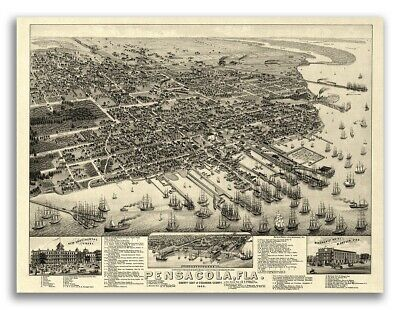 1885 Pensacola Florida Vintage Old Panoramic City Map - 18x24
