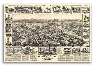 Bird's Eye View 1888 Placerville California Vintage Style City Map - 20x30