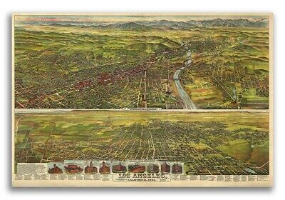Bird's Eye View 1894 Los Angeles California Vintage Style City Map - 20x30