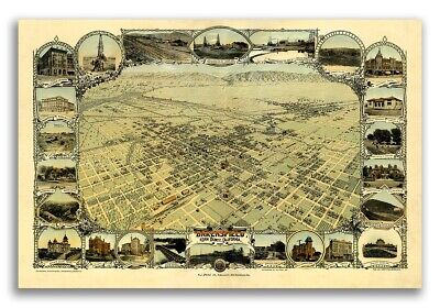 1901 Bakersfield California Vintage Old Panoramic City Map - 20x30