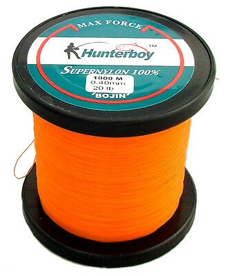 Hunterboy Opaque Orange Nylon Fishing Line 1000M 20Lb Super High Visibility Mono