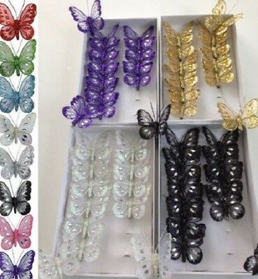 12 x adjustable winged clip on jeweled and glittered 8cm decorative butterflies