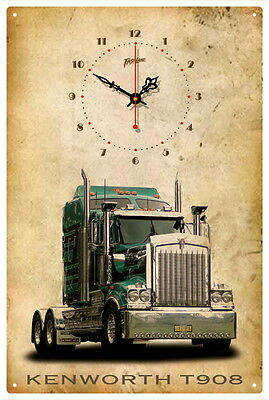Kenworth Truck T908 Vintage  Tin Sign Clock