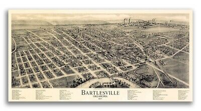 Bird's Eye View 1917 Bartlesville Oklahoma Vintage Style City Map - 18x36