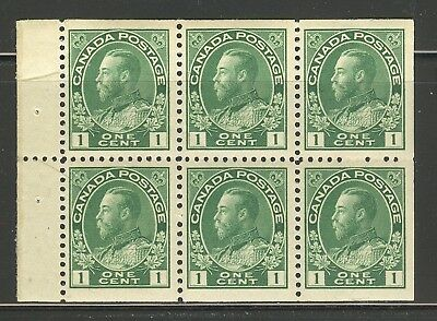 Canada #104a, 1913 1c King George V - Admiral Issue, Booklet Pane Unused NH