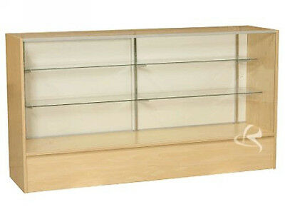 "70"" Wood Maple Showcase Display Case Store Fixture Knocked Down #SC6M"