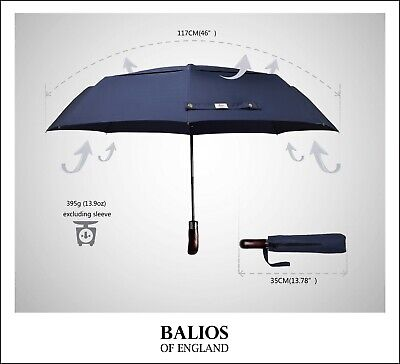 Balios Dark Navy  Double Canopy Umbrella Real Wood Auto Open&Close Windproof