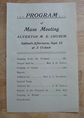 1929 ALVERTON, PA//METHODIST CHURCH MEETING Program