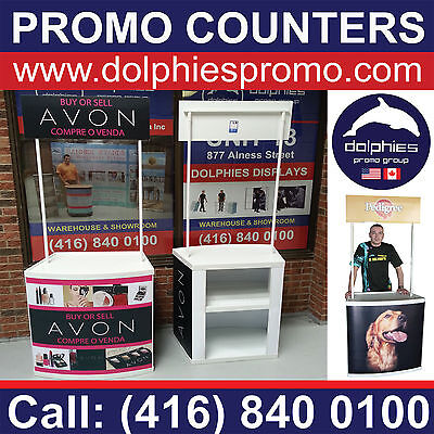 2 UNITS - BLANK Trade Show Counter Portable Booth Table Promo Promotional Kiosks
