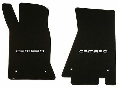 NEW 1967-1969 Camaro Floor Mats Black Set of 2 Carpet Embroidered Script Silver