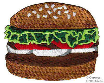 HAMBURGER IRON-ON PATCH embroidered BURGER SANDWICH FAST FOOD APPLIQUE FOOD