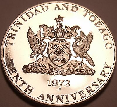 Massive Proof Trinidad & Tobago 1972 Dollar~10th Anniversary of Independence~F/S