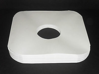"""50 White Paper 12"""" Inner LP Record Sleeves W/Center Hole- 20# Acid-Free Paper"""
