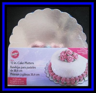 "NEW! Wilton ***12"" SILVER CAKE PLATTERS*** 8 ct boards"