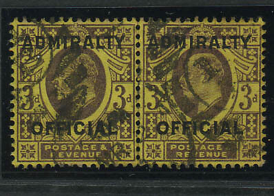 """SG O112  """"Admiralty Official"""" 3d, fine used pair"""