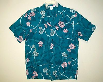 Sz L Men 60s-70s Vintage MADE IN HAWAII Aloha Shirt Cotton Tropical Floral