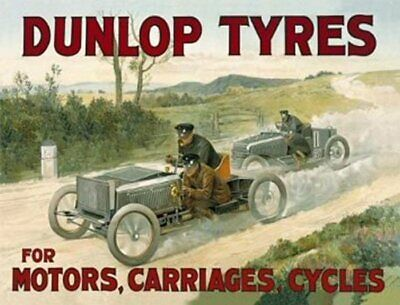 PLAQUE METAL 40X30cm AFFICHE RETRO COURSE DUNLOP TYRES