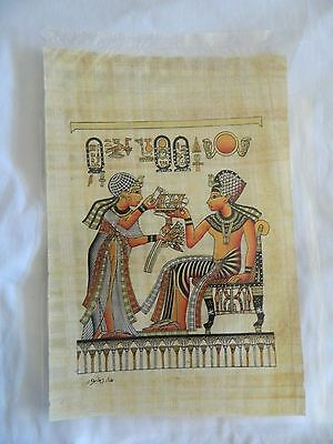 """Egyptian Papyrus Paper Painting King Tut & Queen Lotus Flowers 9X13"""""""
