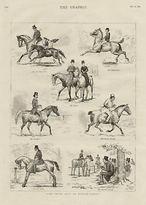 English Horses Riders Young And Old Antique Art Print