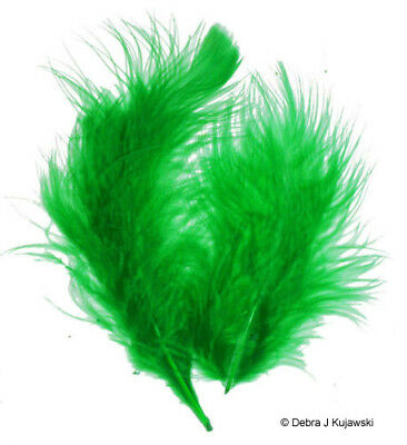 """Quality Marabou Feathers LIME GREEN Fluffy 3-8/"""" L  7 grams Approx 35 ct"""