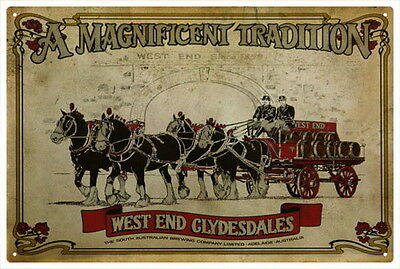 WEST END CLYDESDALES VINTAGE  TIN SIGN Large