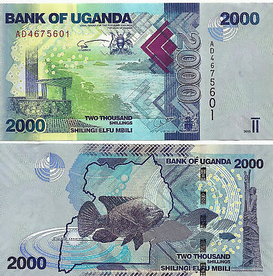 Uganda 2000 Shilingi Uncirculated Note Year 2010