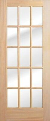 1 Lite -10- Or 15 Lite Stain Grade Pine Solid Wood French Doors Slabs Or Prehung