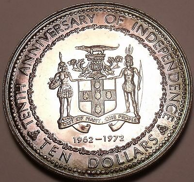 Rare Silver Proof Jamaica 1972 10 Dollars~10th Anniversary of Independence~Fr/Sh