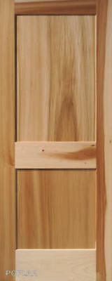 2 Panel Flat Poplar Shaker / Mission Stain Grade Solid Core Wood Interior Doors