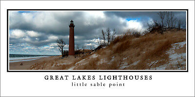 Poster Panorama Great Lakes Lighthouse Little Sable Point Fine Art Print Photo
