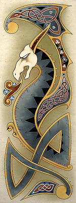 Celtic Nordic Dragon Art Poster Print
