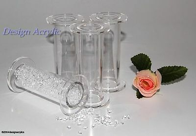 "4 x 3"" CHUNKY CLEAR HOLLOW ACRYLIC WEDDING CAKE PILLARS"
