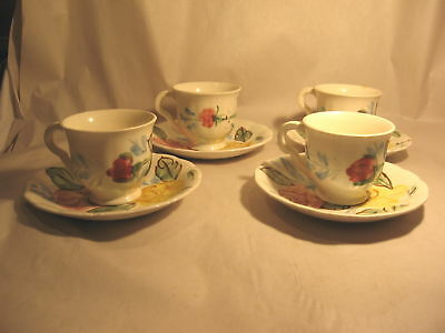 Blue Ridge Pottery Demitasse Cup & Saucer Set of 4 ,8pc