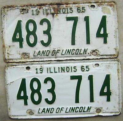 1965 Illinois License Plate # 483 714  Pair