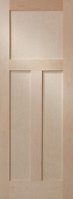 Hard Maple 3 Panel Flat Mission / Shaker Stain Grade Solid Core Interior Doors