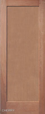 1 Panel Flat Mission / Shaker Cherry Stain Grade Solid Core Interior Wood Doors
