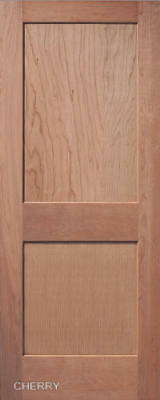2 Panel Flat Mission / Shaker Cherry Stain Grade Solid Core Interior Wood Doors