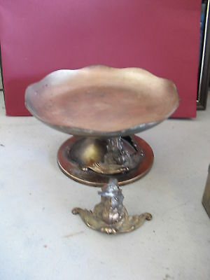 Antique Bronze Elevated Compote w/ Fish Supports LOOK
