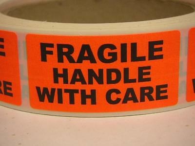 FRAGILE HANDLE WITH CARE 1x2 Warning Stickers Labels fluorescent red 250/rl
