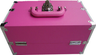 Pink Beauty Makeup Box Nail Cosmetics Vanity Case Salon