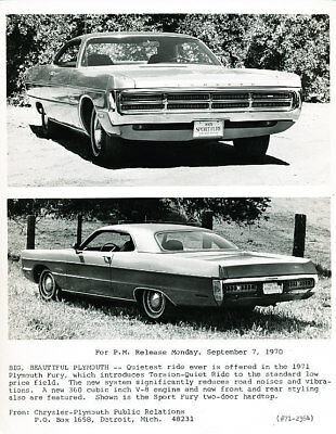 1971 Plymouth Fury Factory Press Photo Print