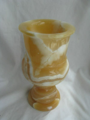 "Egyptian Alabaster Stone Candle Holder Large 8.5""#37"