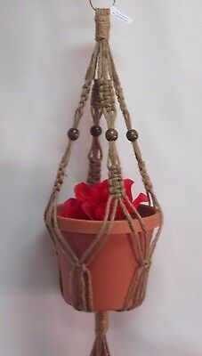 Macrame Plant Hanger BEADED 28 in 6 ply All Natural JUTE