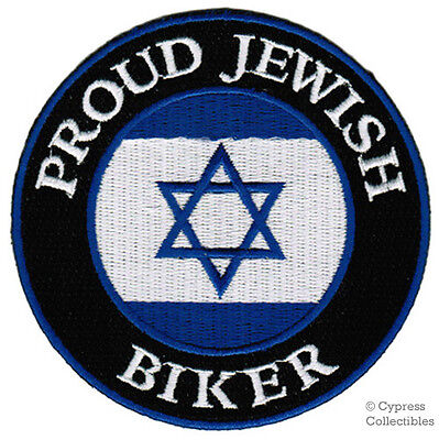 PROUD JEWISH BIKER embroidered PATCH STAR OF DAVID FLAG iron-on MOTORCYCLE new