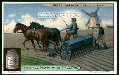 Vintage Horsedrawn Wheat Seeder NICE 1920s Card