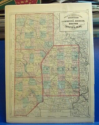 1872 MAP of Lawrence, Mercer, Beaver & Butler Co., PA