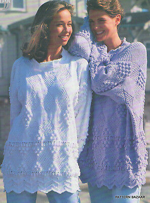 Aran Style Tunic in DK Cotton One Size Knitting Pattern