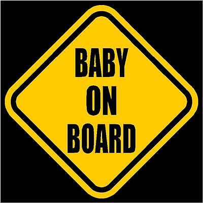 "BABY ON BOARD Window Decal/Sticker Yellow 5.5""H"