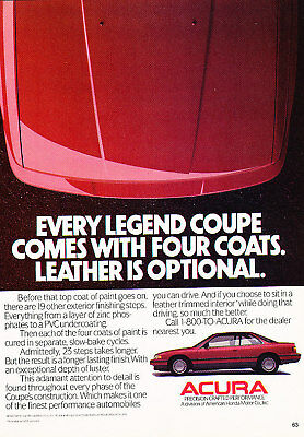 1988 Acura Legend Coupe Classic Advertisement Ad P75